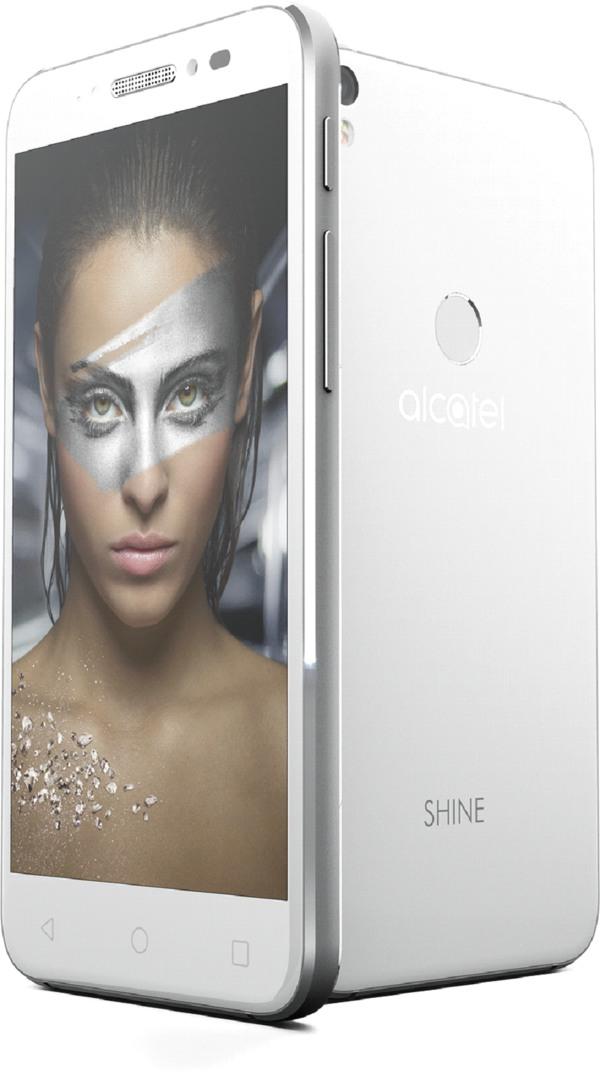 witte alcatel shine lite voorkant en achterkant