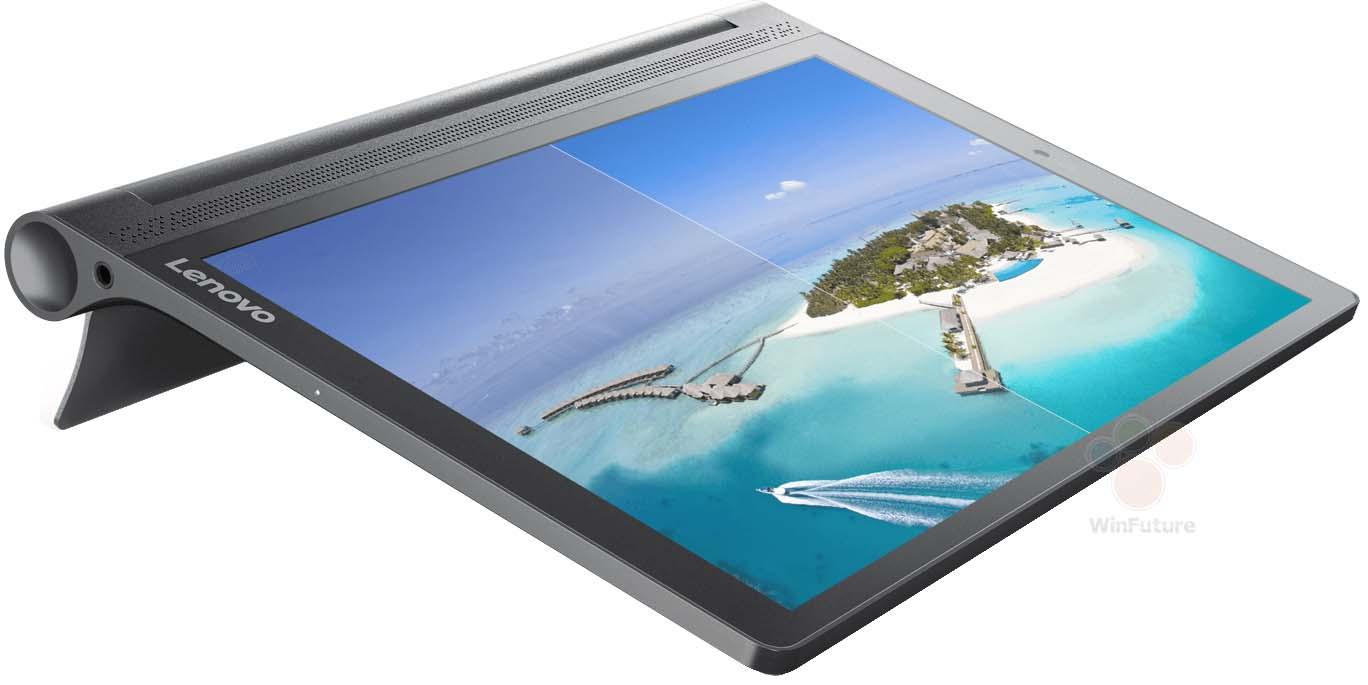 liggende lenovo yoga tab 3 plus 10 met een eiland in de blauwe zee op de achtergrond van de tablet