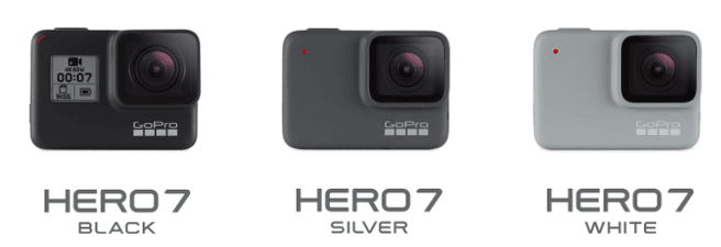 GoPro HERO 7 Black, GoPro HERO 7 White en GoPro HERO7 Silver