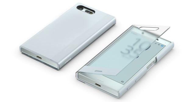 twee witte sony xperia xz toestellen voorkant en achterkant met glazen book case