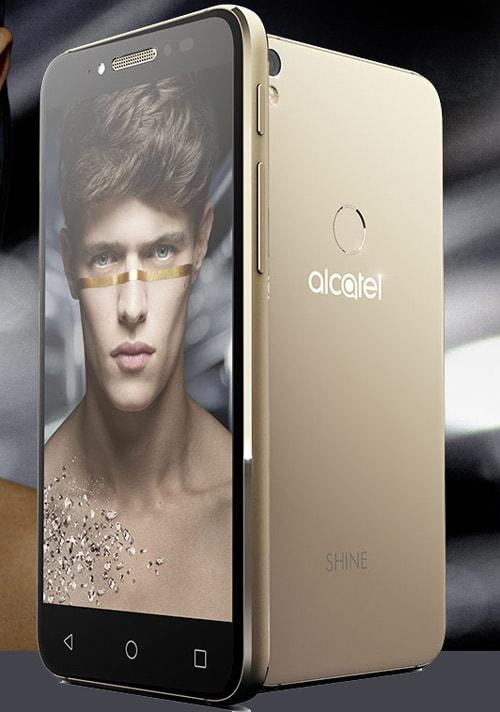 alcatel shine lite goud voorkant en achterkant