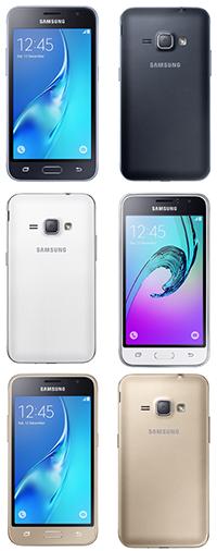 Samsung Galaxy J1 2016 zwarte, witte en gouden toestellen