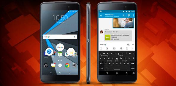 BlackBerry DTEK50 toestel vooraanzicht op een rode achtergrond