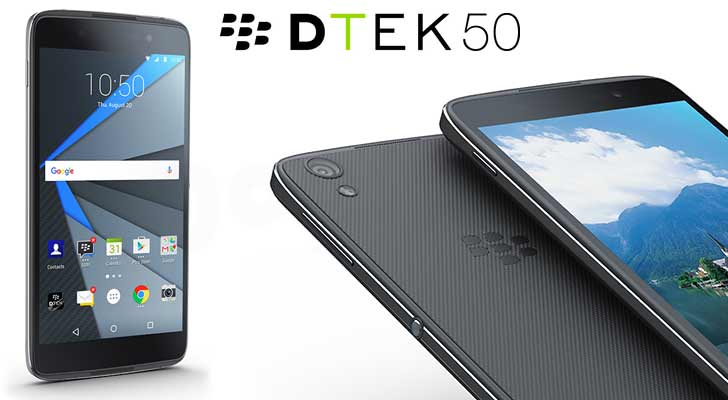 BlackBerry DTEK50 met witte achtergrond