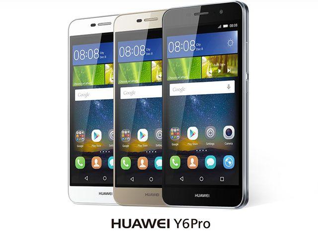 Huawei Y6 Pro toestel in het wit, goud en zwart.