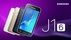 Samsung Galaxy J1 2016 toestel paarse achtergrond