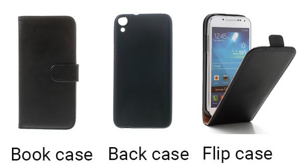 3 soorten hoesjes, book case, back case en een flip case