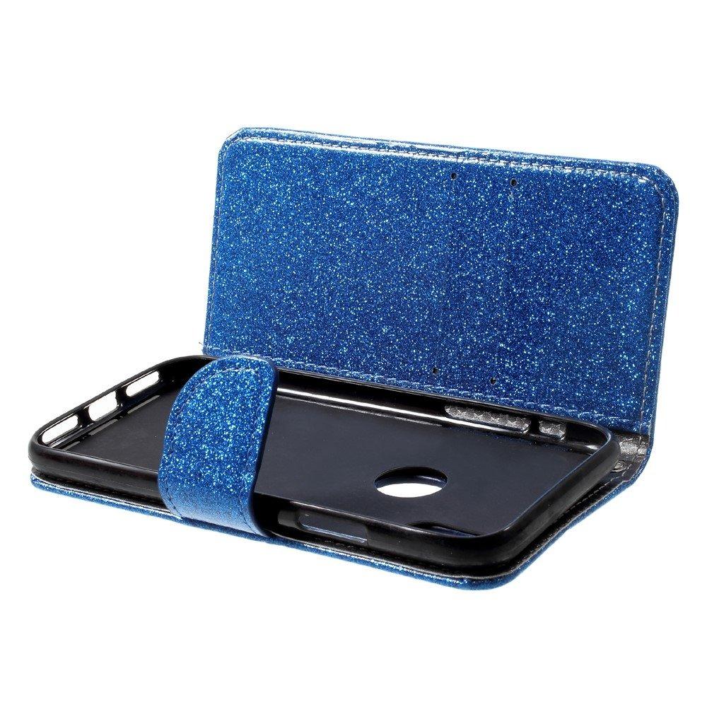 Shop4-iPhone-Xs-Hoesje-Wallet-Case-Glitter-Blauw miniatuur 2