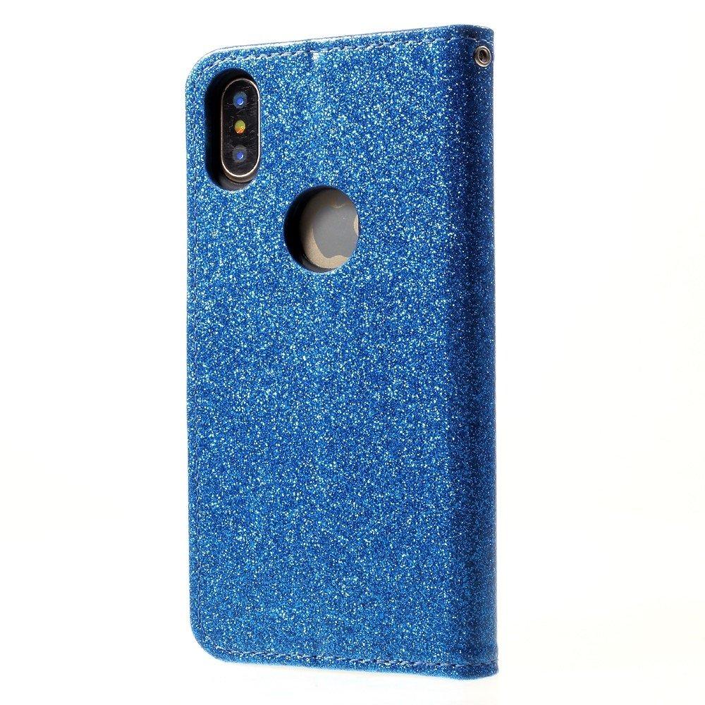 Shop4-iPhone-Xs-Hoesje-Wallet-Case-Glitter-Blauw miniatuur 3