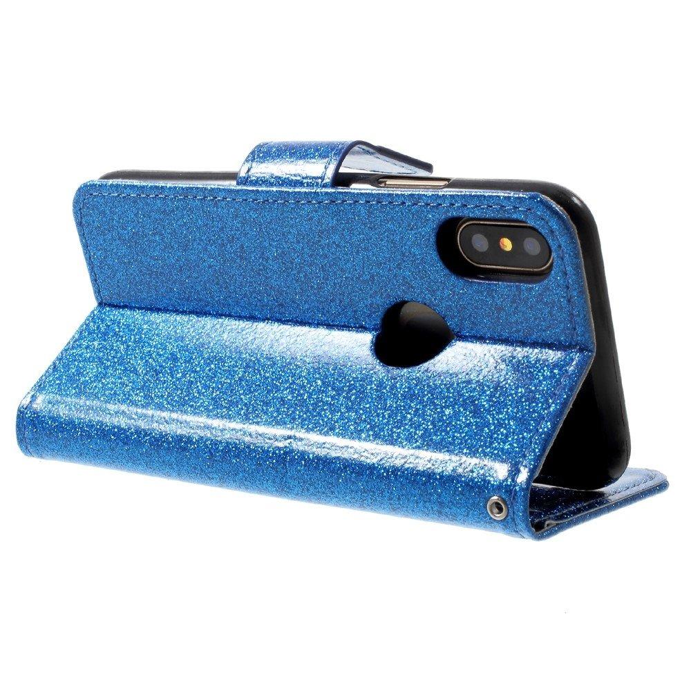 Shop4-iPhone-Xs-Hoesje-Wallet-Case-Glitter-Blauw miniatuur 4