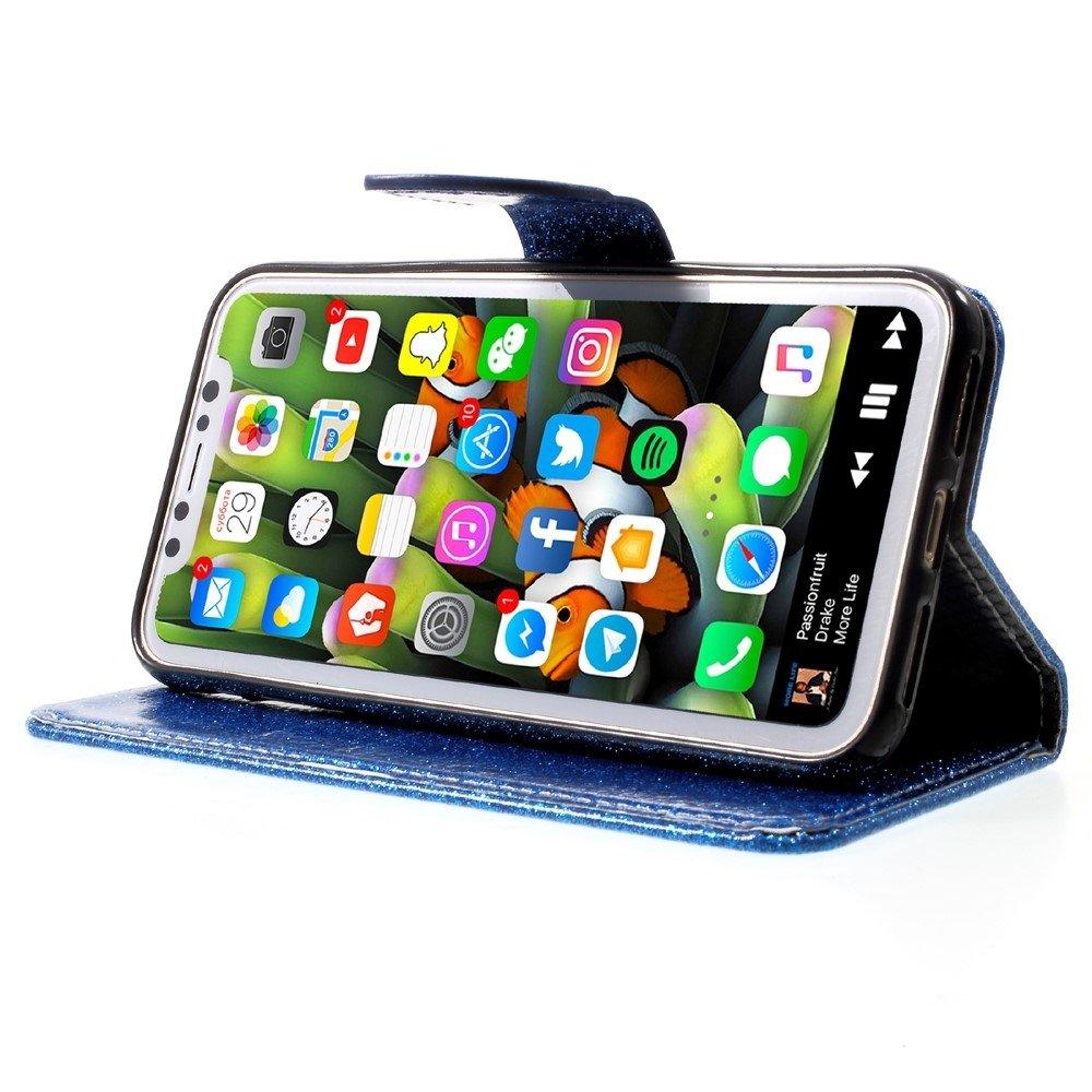 Shop4-iPhone-Xs-Hoesje-Wallet-Case-Glitter-Blauw miniatuur 5