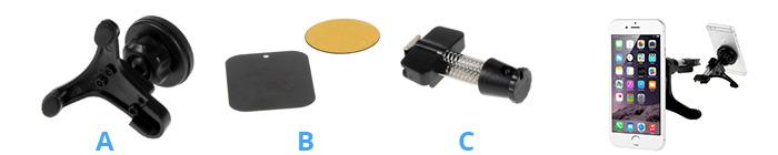Shop4 - Magnetische Autohouder Ventilatierooster Klem Zwart