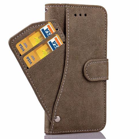 Iphone 6s uitschuifbare wallet case   bescherm met deze bruine retro wallet case je iphone 6s tegen stoten, ...