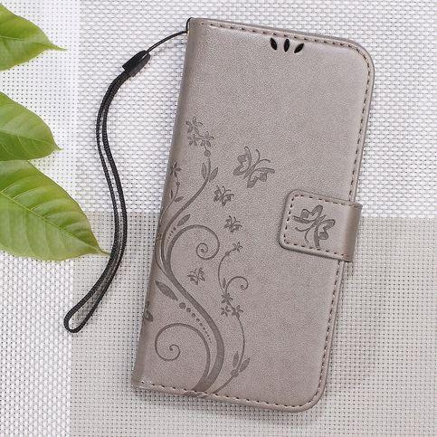 Bescherm met deze grijze vlinder patroon wallet case je asus zenfone 3 (5,2 inch) tegen stoten, krassen en ...
