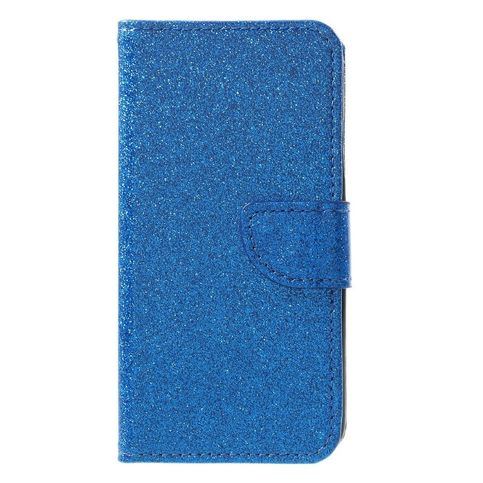 Shop4-iPhone-Xs-Hoesje-Wallet-Case-Glitter-Blauw